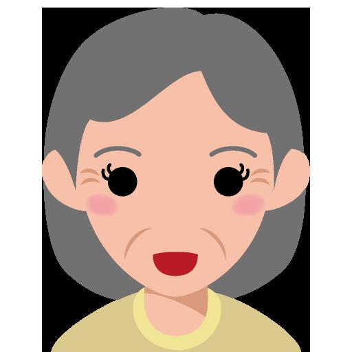 セミロングの面長な顔の高齢女性