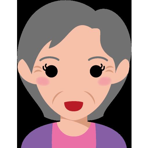 ショートヘアで面長な顔の高齢女性