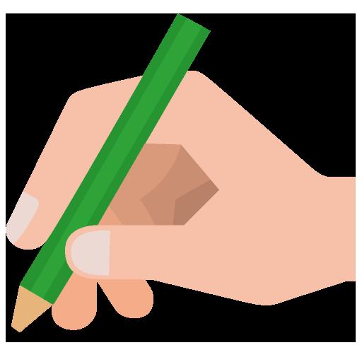 鉛筆を握る手のイラスト
