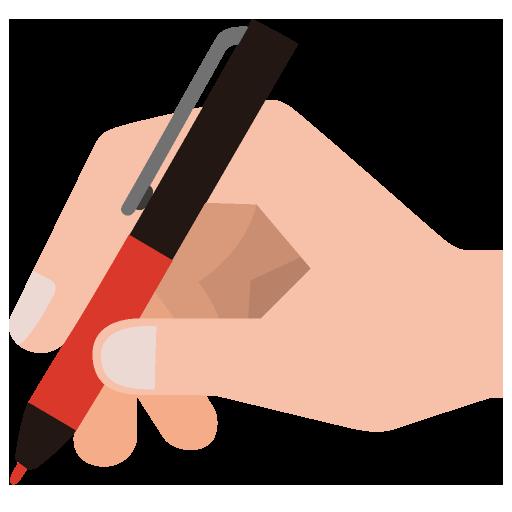 赤ペンを握る手のイラスト