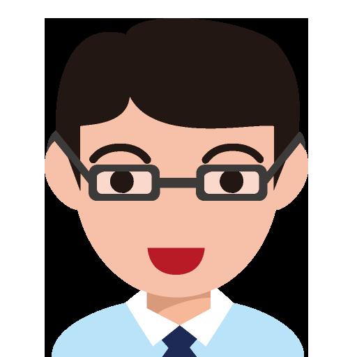 メガネをかけた丸顔の男性