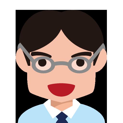 メガネをかけた角ばった顔の男性