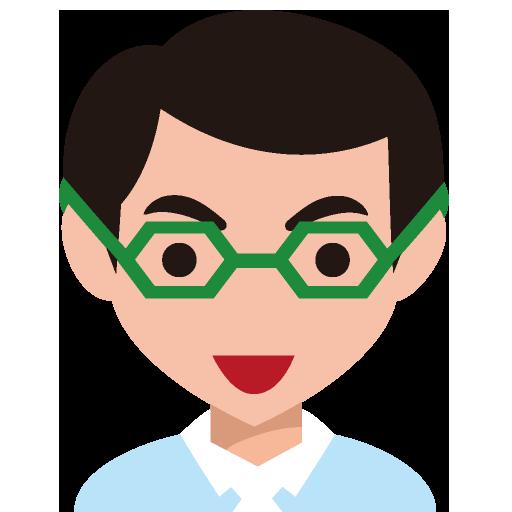 メガネをかけたシャープな顔の男性