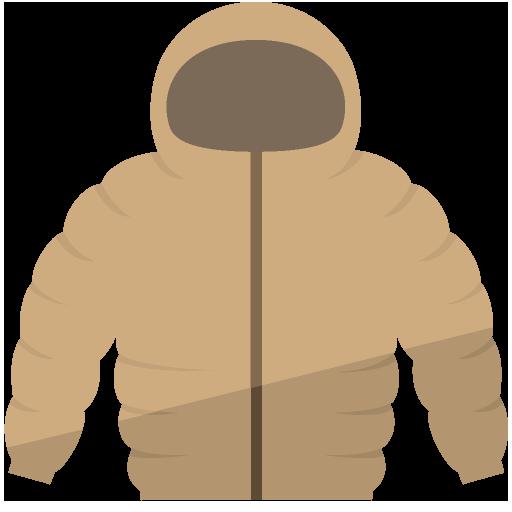 フード付きのダウンジャケットのイラスト