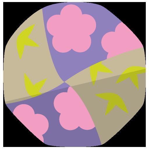 和柄のお手玉のイラスト