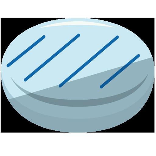 平らなガラスでできた丸いおはじきのイラスト