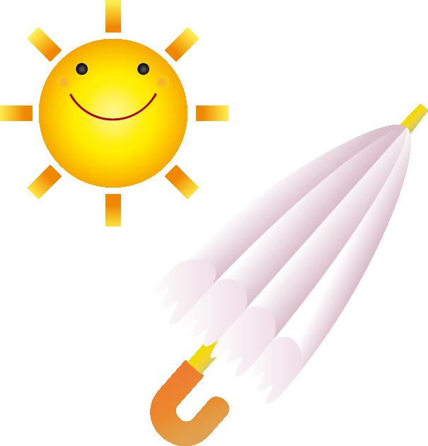 太陽と日傘のイラスト