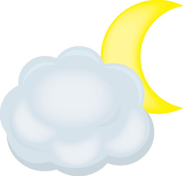 雲と月のイラスト