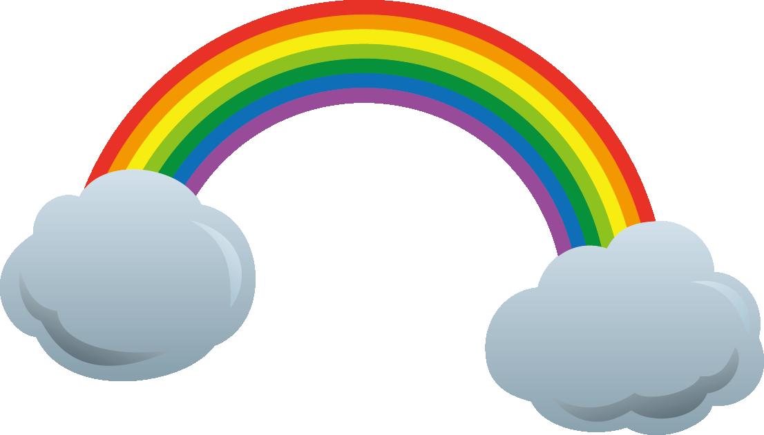 雲と虹のイラスト