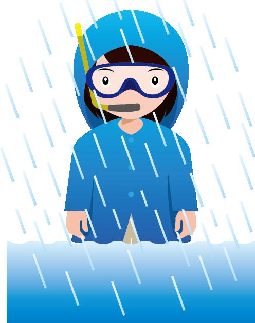 豪雨のイラスト