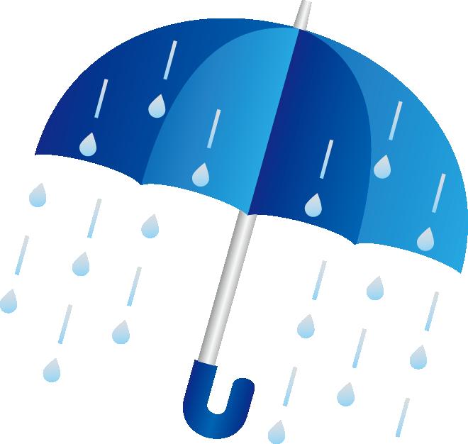 雨粒と傘のイラスト