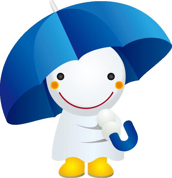 傘とてるてる坊主のイラスト