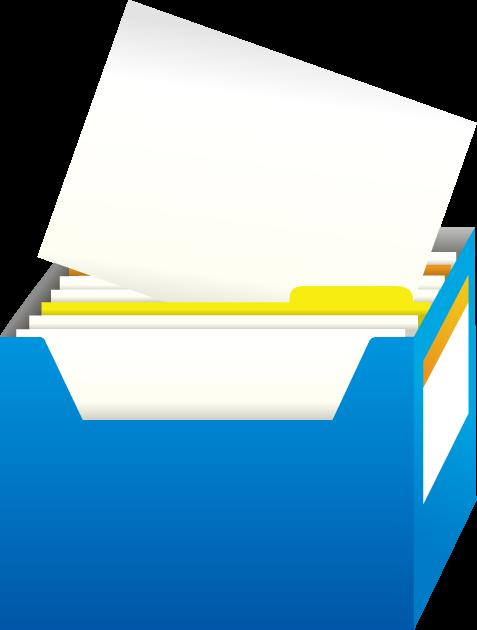 ひとつの書類が取り出されているファイルボックス