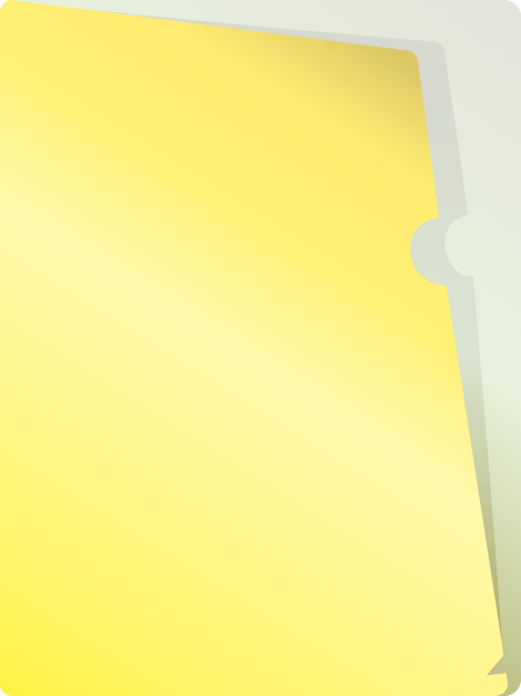 黄色いクリアファイルフォルダー