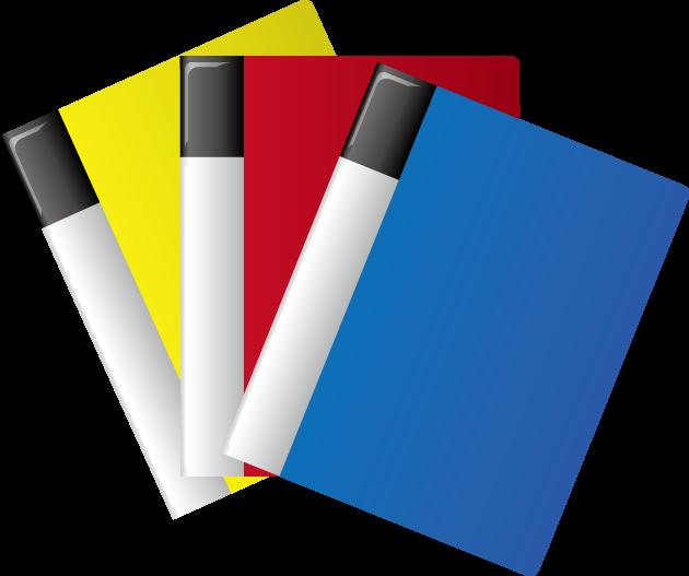 黄色、赤、青のクリアファイル