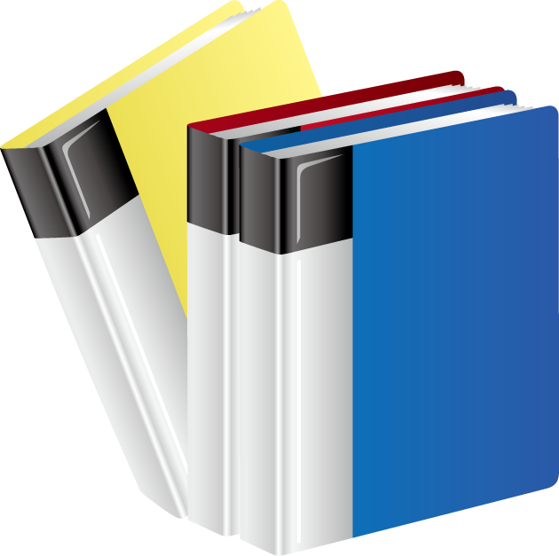厚みのある黄色、赤、青のクリアファイル
