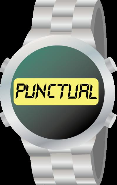 時間厳守の意味のpunctualと表示されたデジタル腕時計