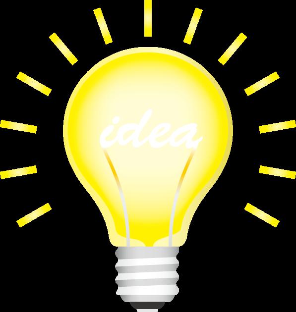 フィラメントがアイディアの文字になっている白熱電球