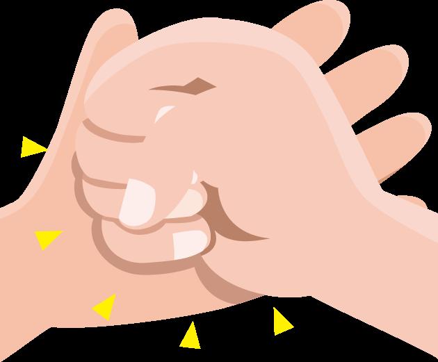ひらめきを表現する手を打つ動作