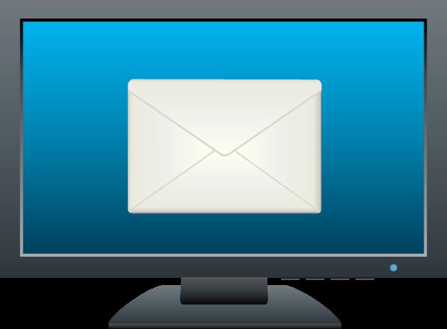 パソコンのディスプレイに表示された封筒