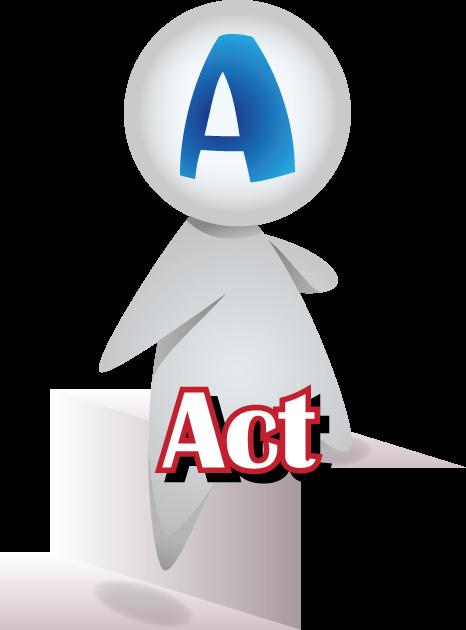 階段を上っている人型とActの文字