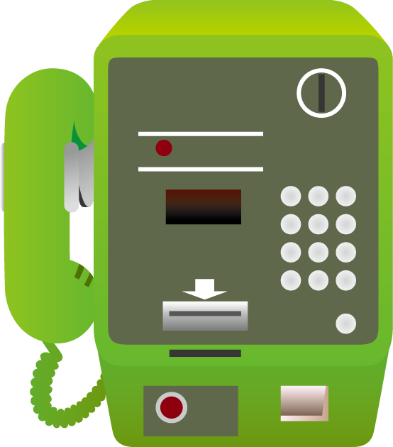 緑色の公衆電話
