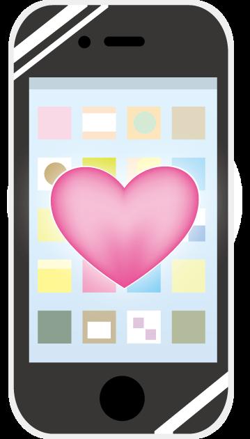 ハートマークでマナーモードを表しているスマートフォン