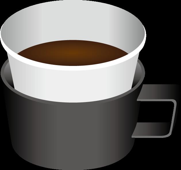 紙コップホルダーに入った紙コップとコーヒー