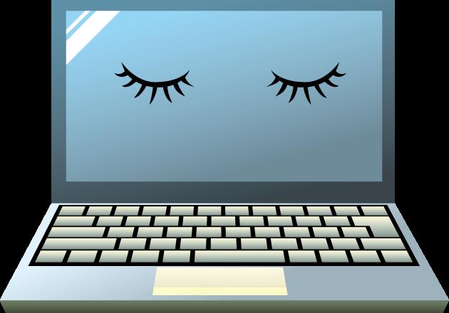 パソコンのモニターに表示された閉じた目