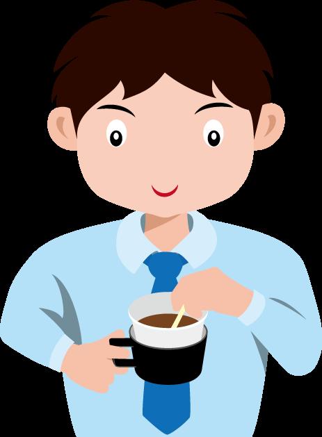 コーヒーをかき混ぜる男性社員