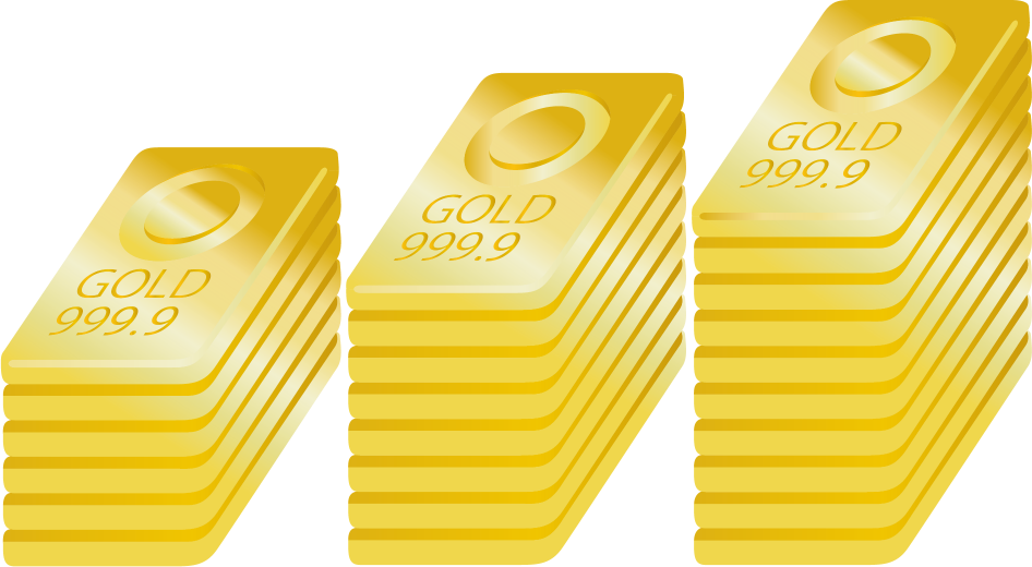 縦に積み上げられた金の地金