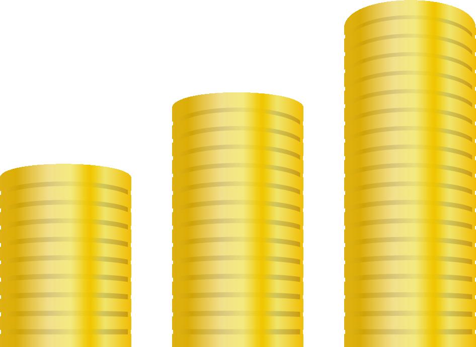 縦に積み上げられた金貨
