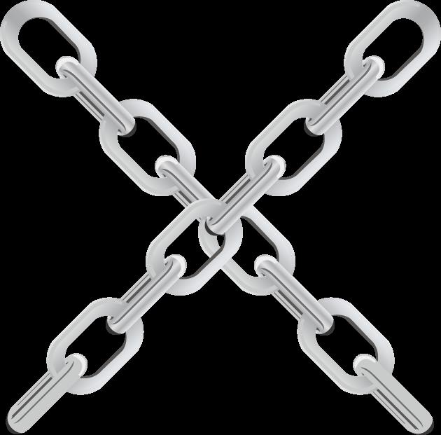 大きな鎖で描かれたバツ印