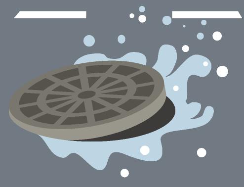マンホールから噴き出す水のイラスト