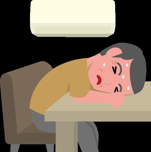 室内での熱中症のイラスト