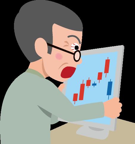 株価下落のイラスト