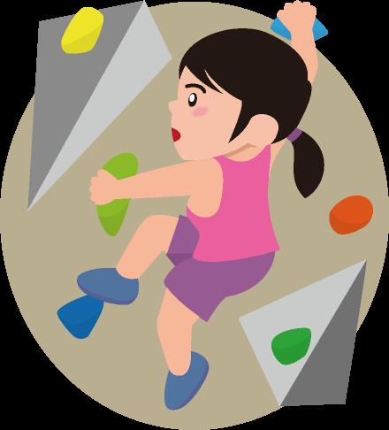 ボルダリングをしている女性のイラスト