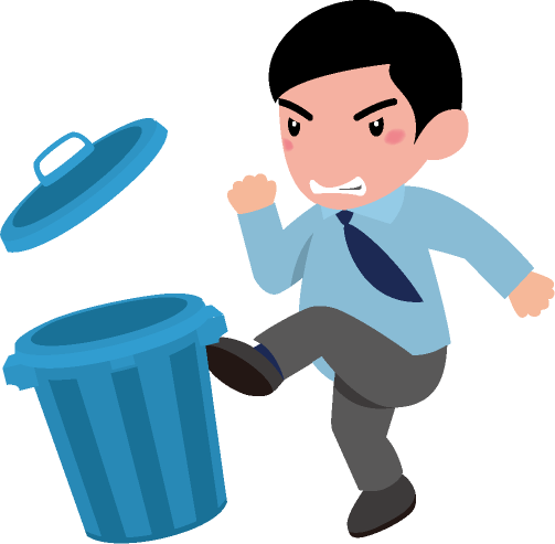腹いせにゴミ箱を蹴り飛ばす男性のイラスト