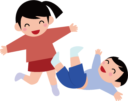 楽しそうに遊ぶ男の子と女の子のイラスト