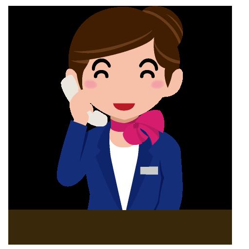 笑顔で電話の応対をする受付係のイラスト