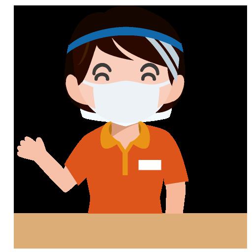 マスクとフェイスシールドを着用した受付係のイラスト
