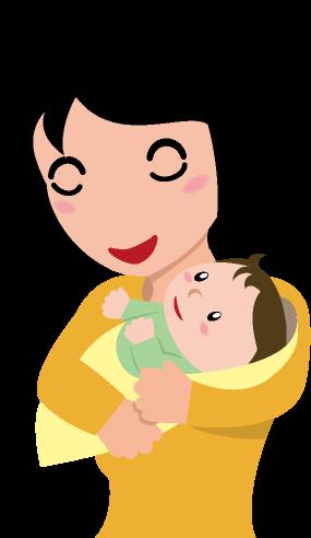 赤ちゃんを抱いて幸せをかみしめる母親と母親の腕の中で安心している赤ちゃんのイラスト