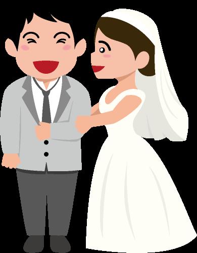 結婚式で満面の笑みを浮かべる新郎とそれを嬉しそうに眺める新婦のイラスト