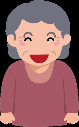 ニコニコとほほ笑むおばあちゃんのイラスト