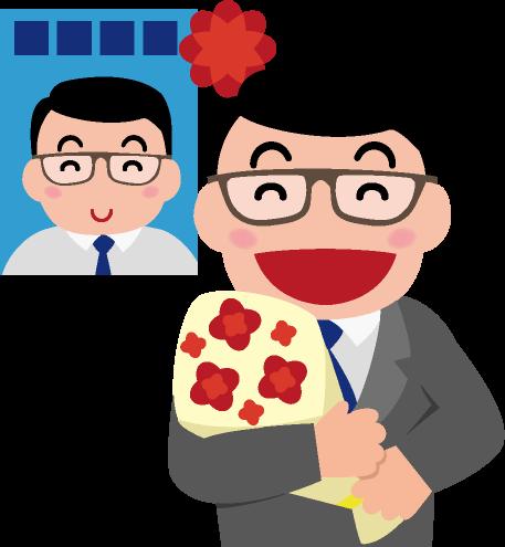 自分の選挙ポスターの前で花束を抱えて当選を喜ぶ議員のイラスト