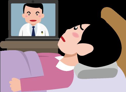 体調の悪そうな女性から病状を聞くオンライン診療を行う医師のイラスト