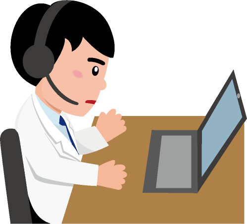 パソコンの向こう側の患者と話をする医師のイラスト