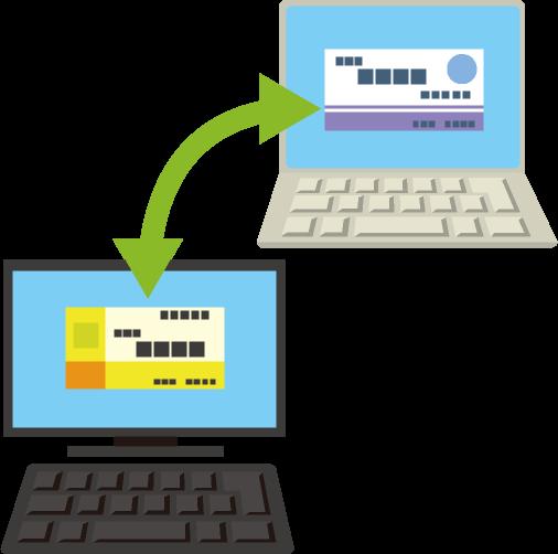 オンラインで名刺をやり取りする様子と名刺の映ったパソコン画面のイラスト