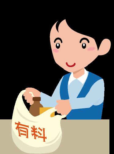 有料のレジ袋に商品を入れる女性のイラスト