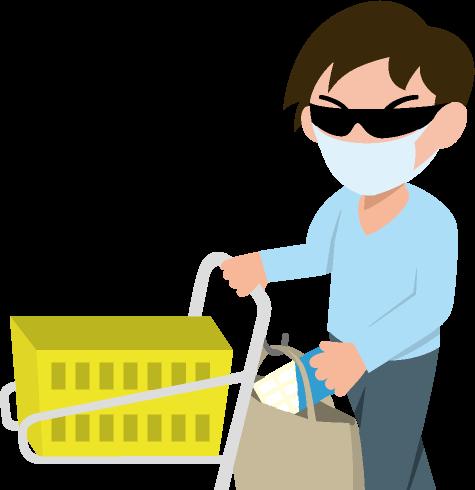 商品を買い物かごに入れずに自分のバッグに入れている万引き犯の男のイラスト